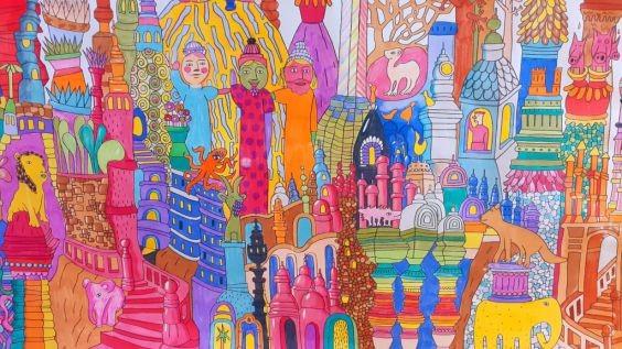 Un coloriage original du Palais idéal : c'est cadeau pour finir 2020 en beauté !